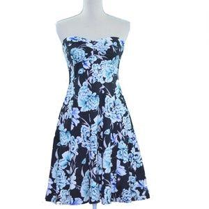 WHBM Floral Print Strapless Dress